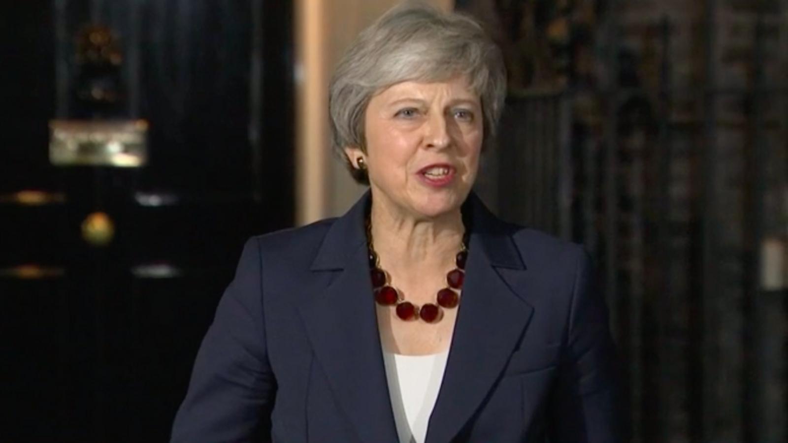 Theresa May, al davant de Downing Street, aquest dimecres / BBC