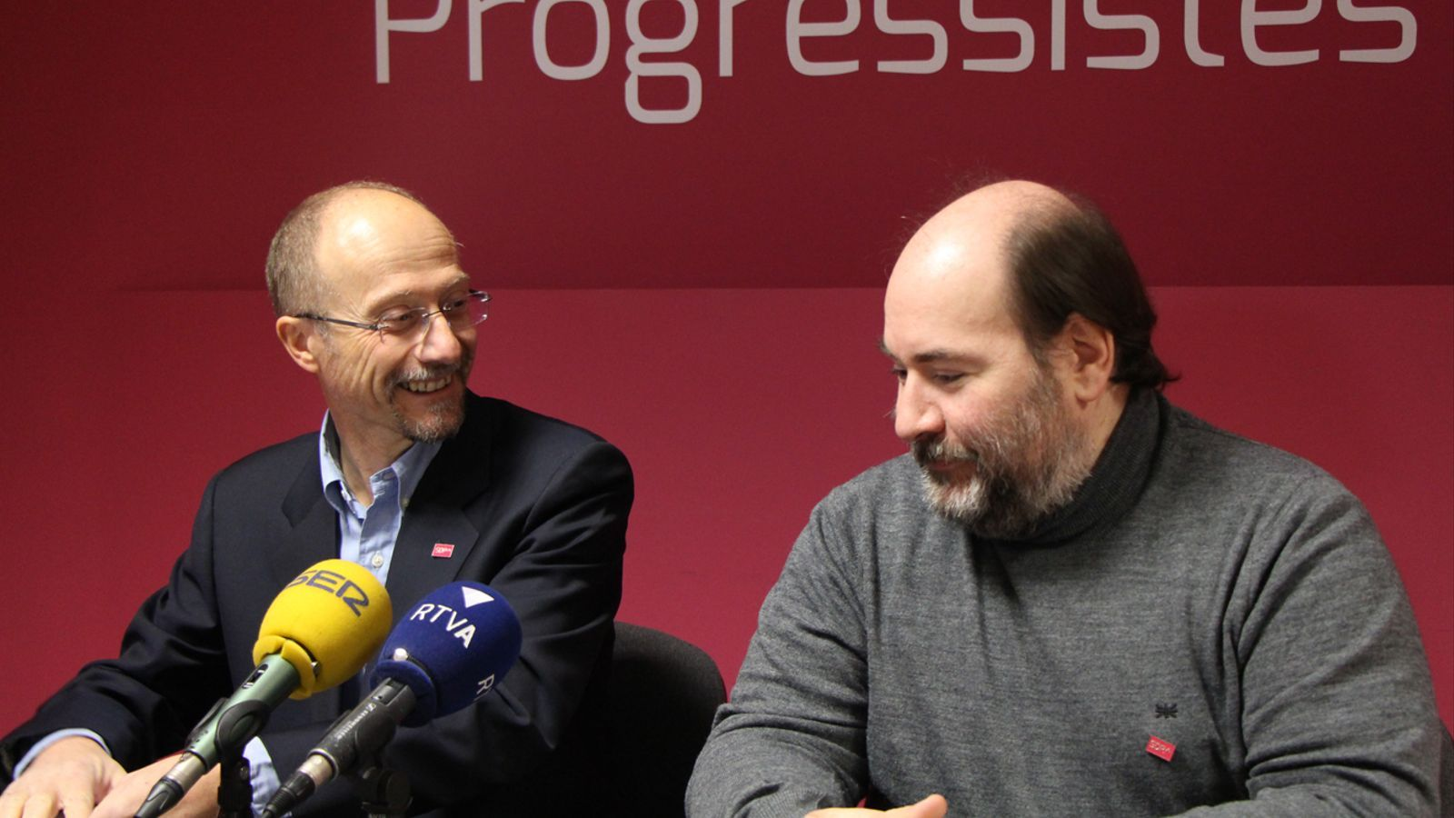 Víctor Naudi i Joan-Marc Miralles en roda de premsa / M. T.