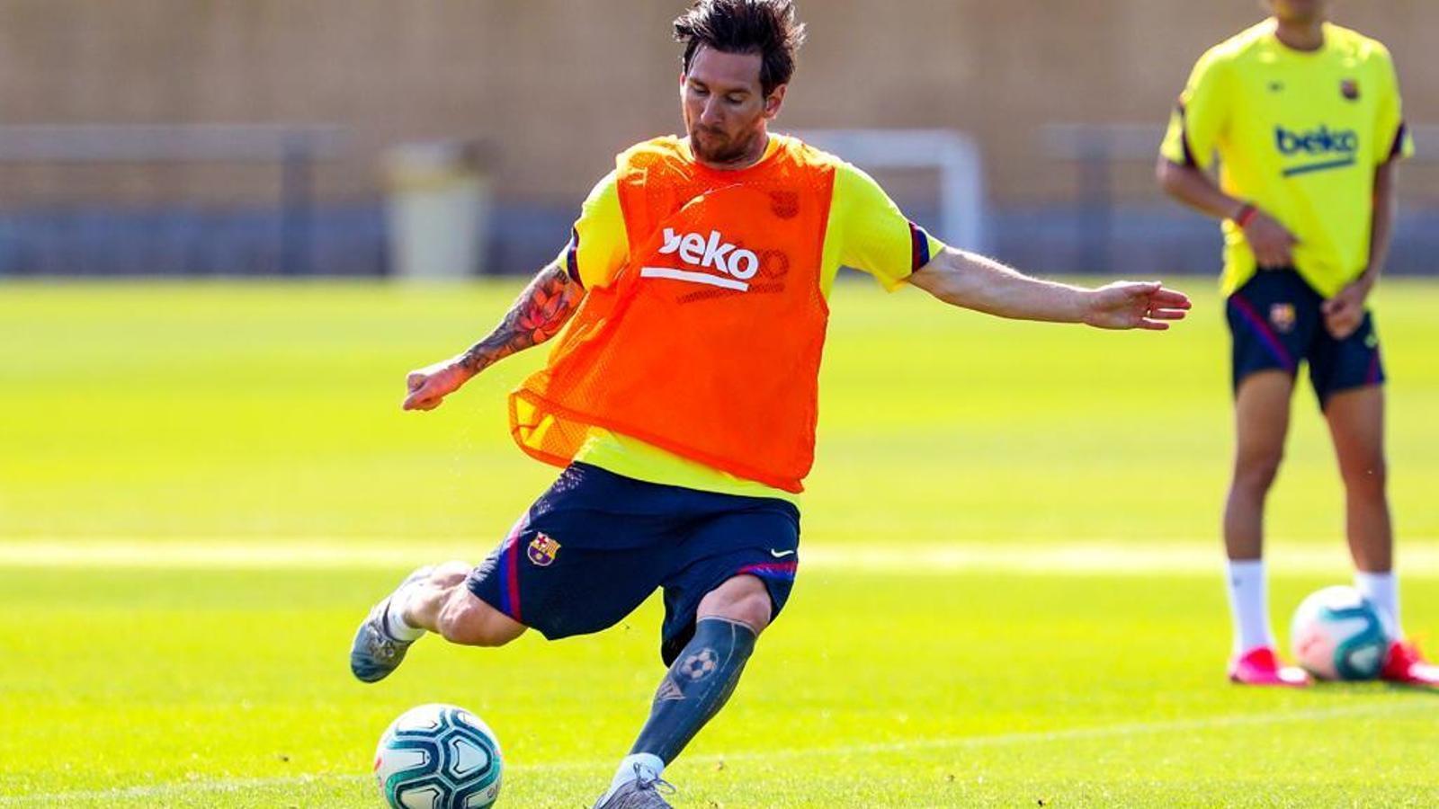 Leo Messi durant un entrenament amb el Barça durant la pandèmia de coronavirus