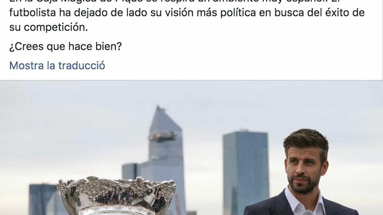 Missatge qüestionant la catalanitat de Piqué