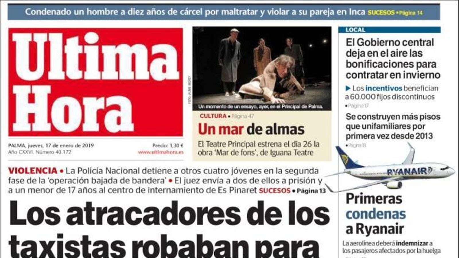 """""""Els atracadors dels taxistes robaven per pagar les seves festes"""", portada de l''Última Hora'"""