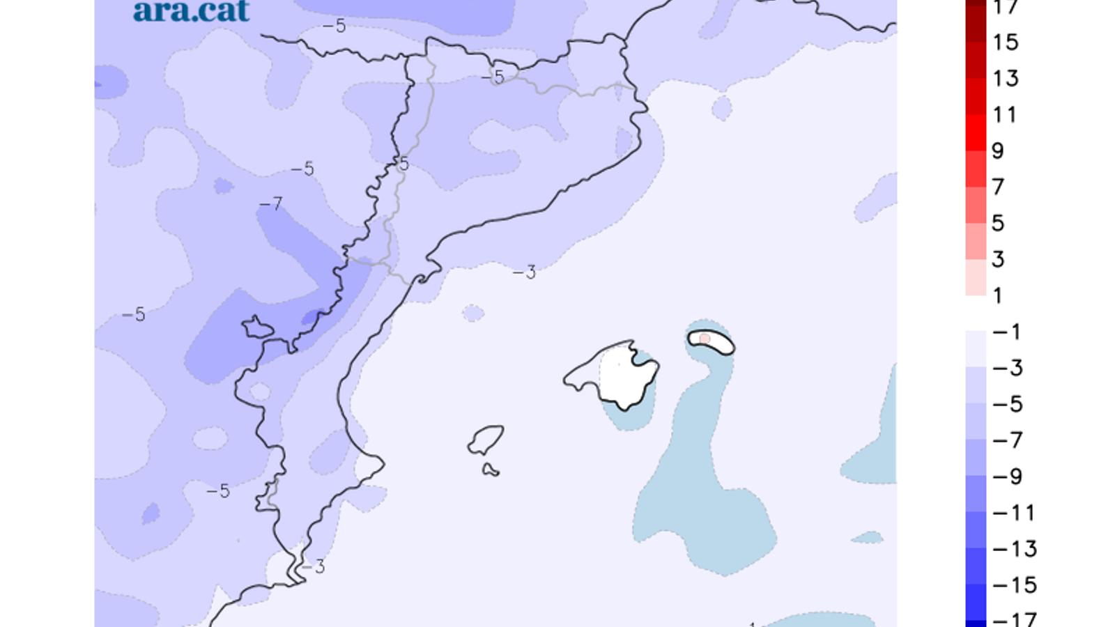 Diferència prevista entre la temperatura mínima d'avui i la de diumnge