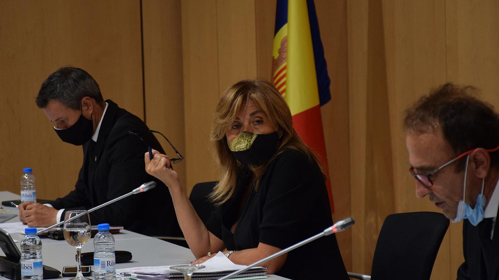 La cònsol major d'Andorra la Vella, Conxita Marsol, durant la sessió de consell de comú