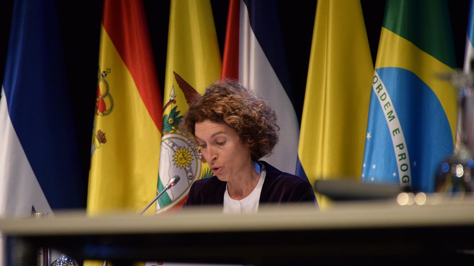 La ministra Maria Ubach durant la reunió extraordinària de ministres iberoamericans d'afers exteriors. / M. F. (ANA)