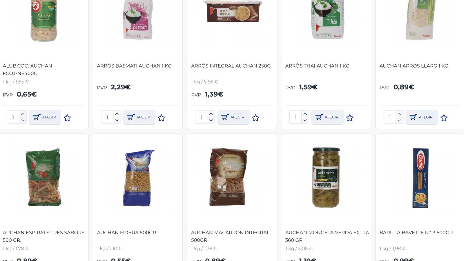 Productes en un supermercat online. / M. R. F.