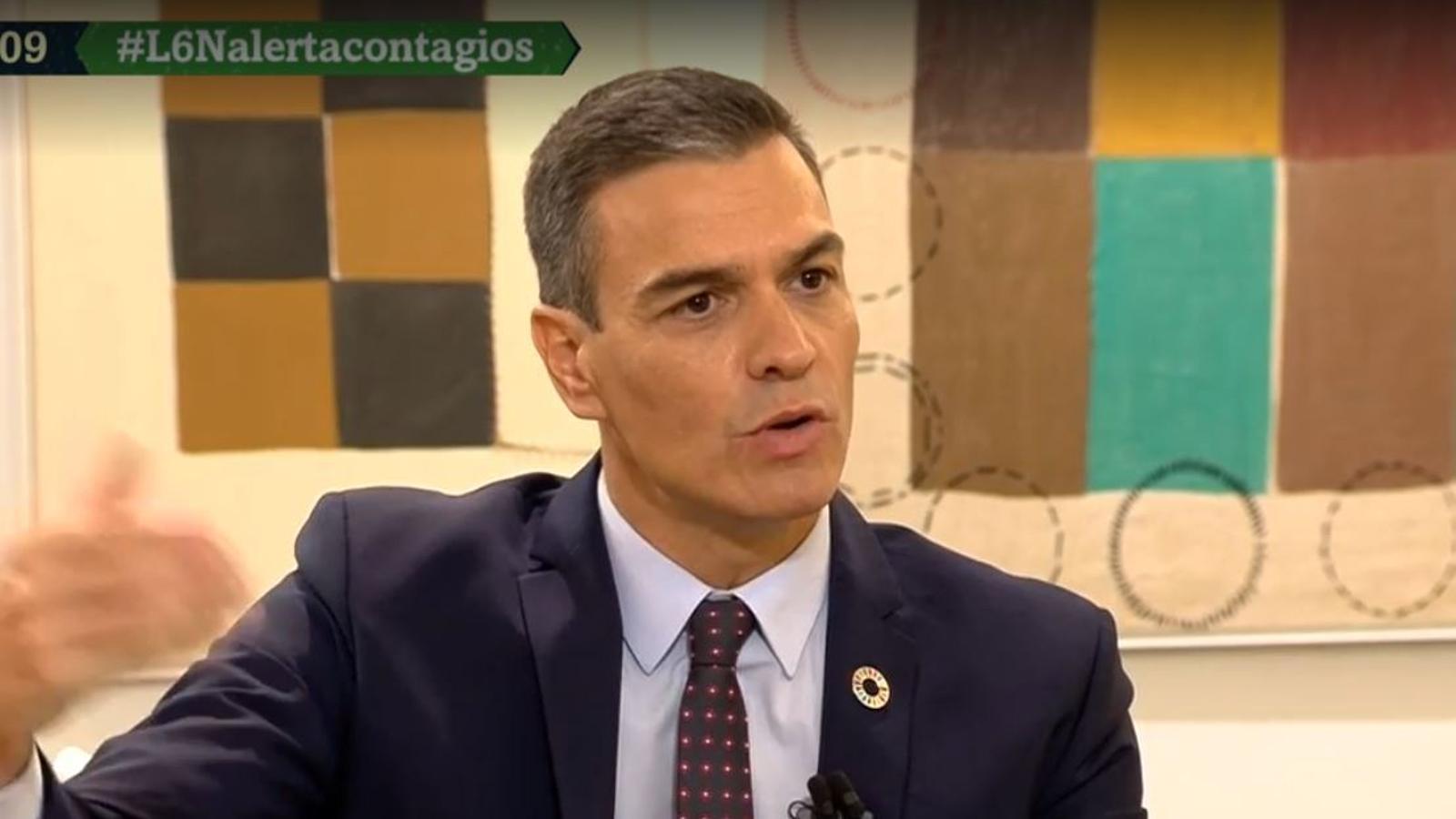 El president del govern espanyol, Pedro Sánchez, durant una entrevista a La Sexta Noche.