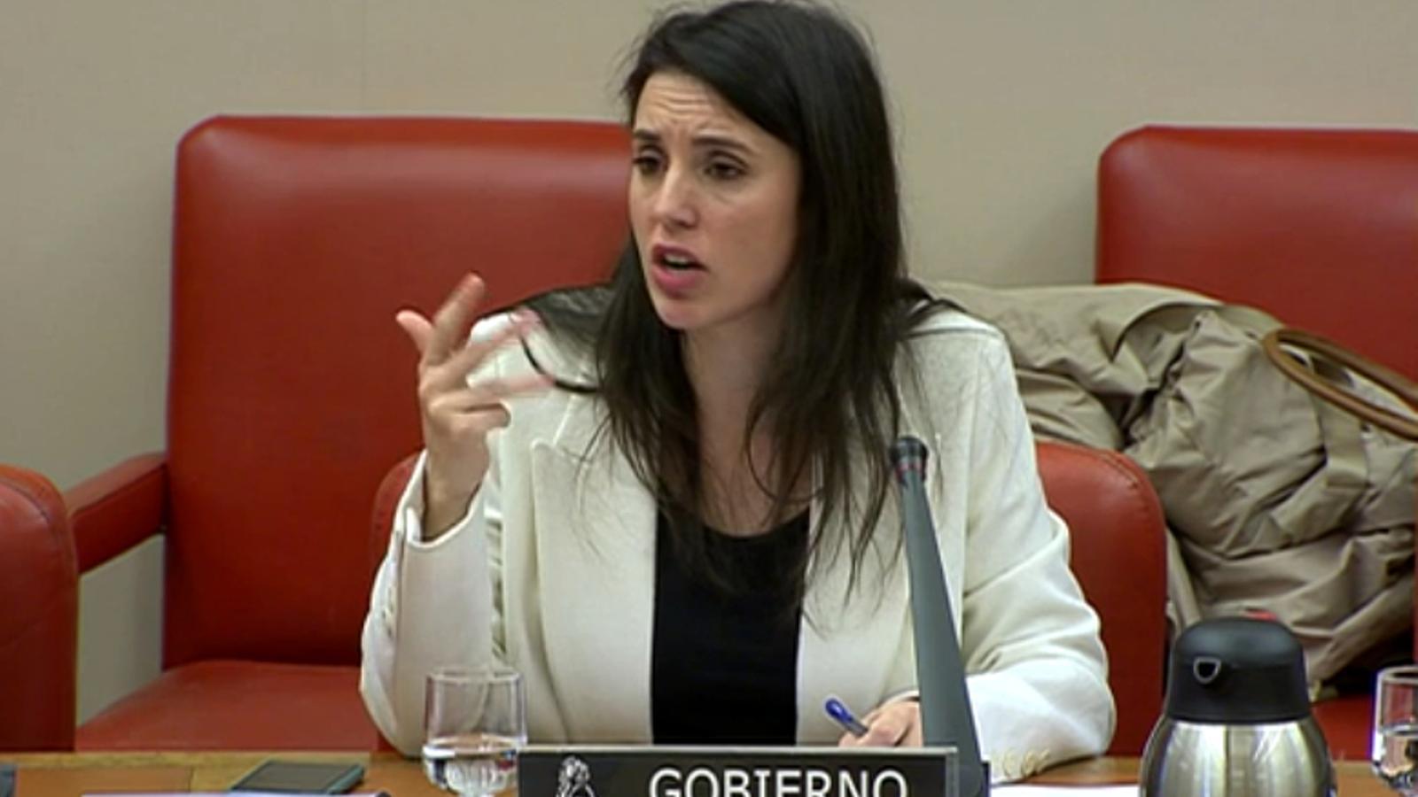 La ministra d'Igulatat, Irene Montero, durant la compareixença a la comissió d'Igualtat del Congrés.