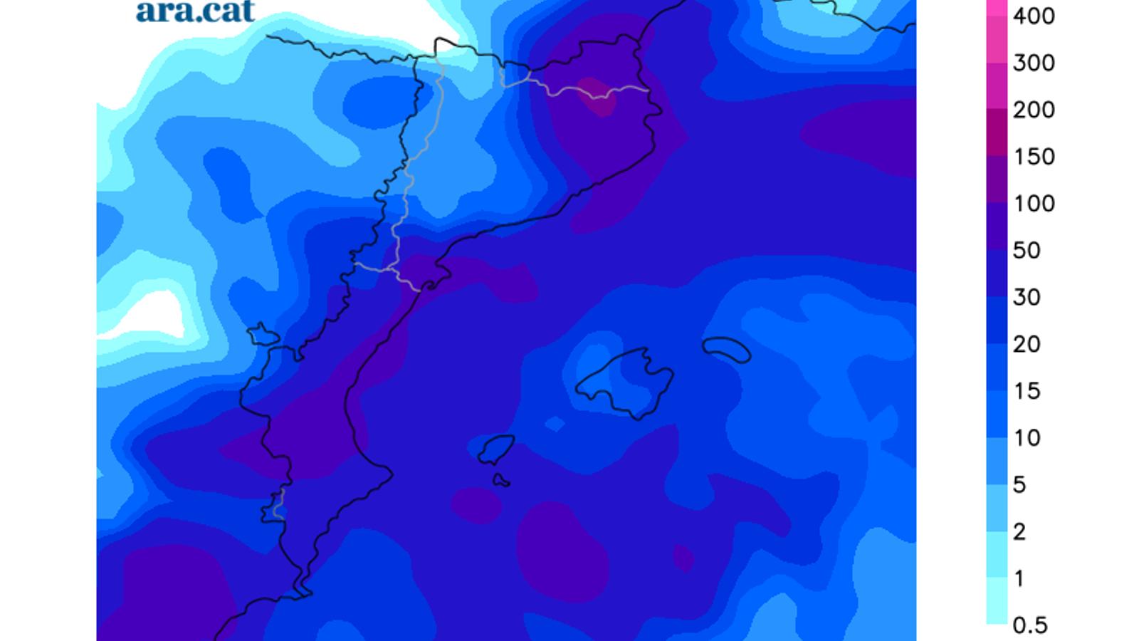 Acumulacions totals de precipitació previstes fins diumenge a primera hora