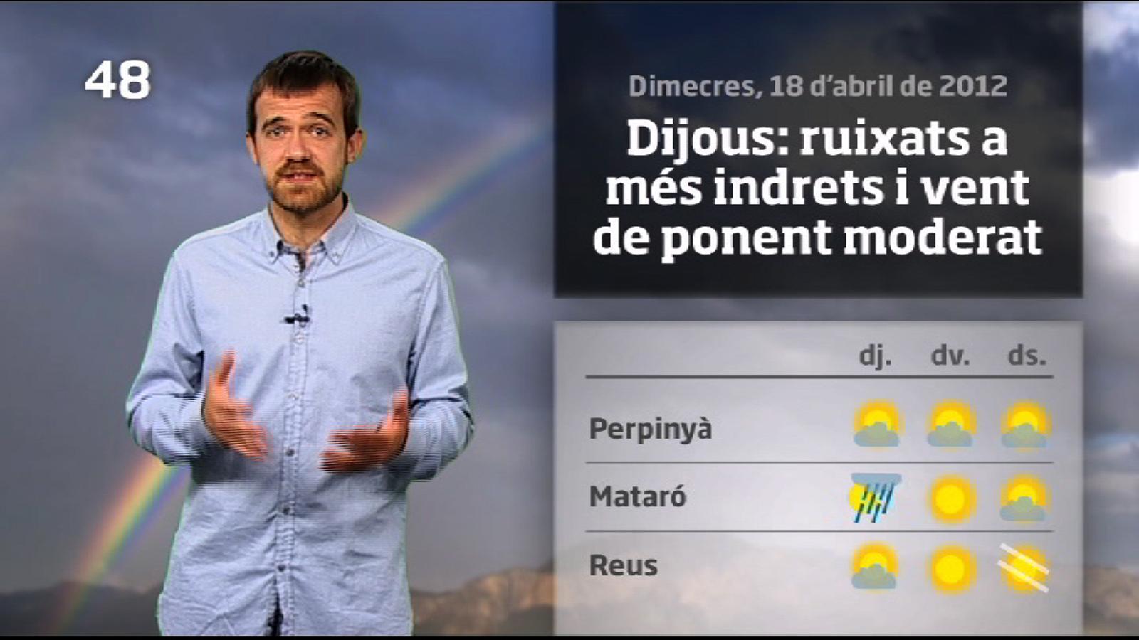 La méteo en 1 minut: dijous amb més ruixats i vent de ponent (19/04/2012)