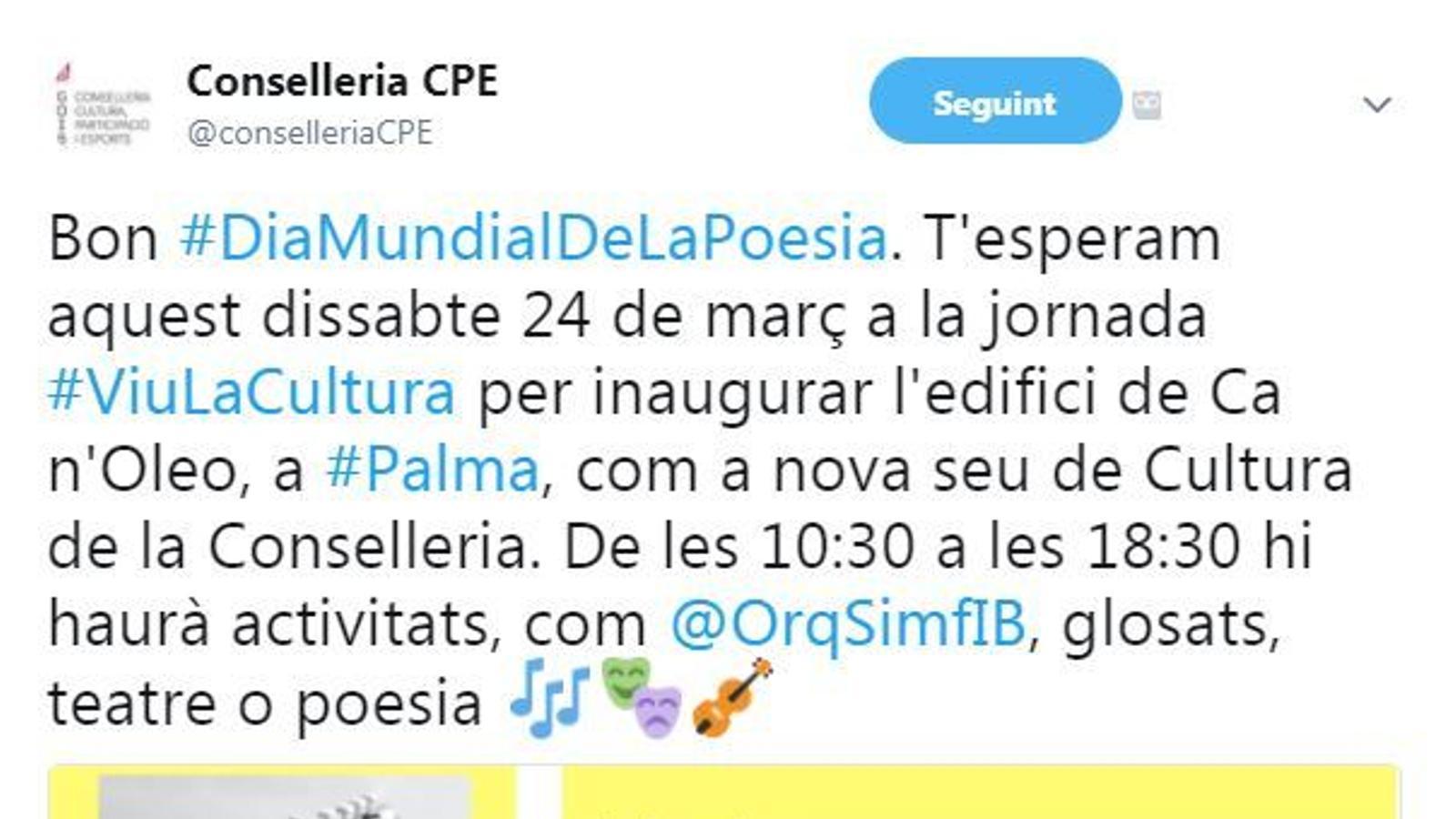 Tweet de la Conselleria CPE