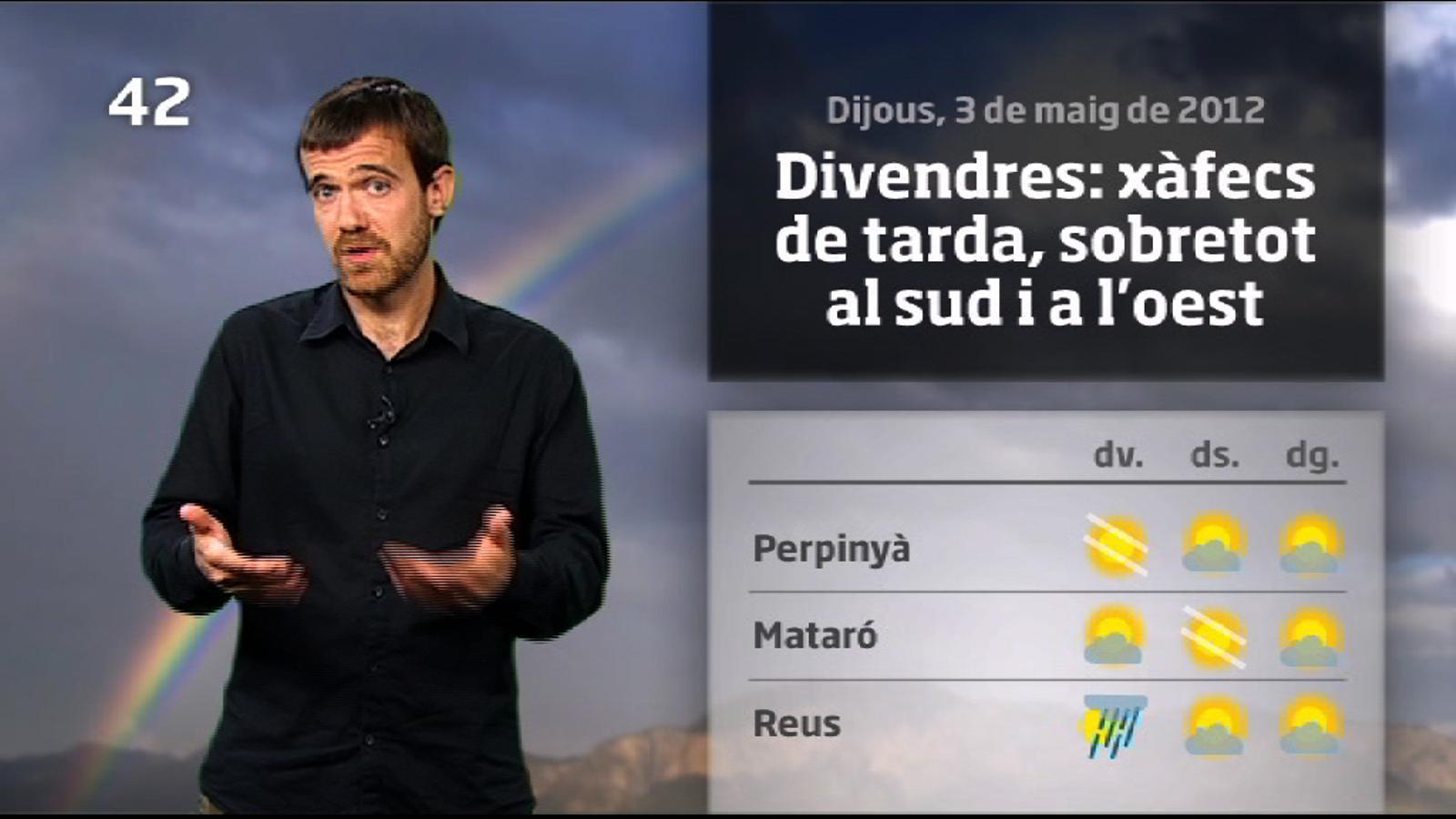 La méteo en 1 minut: el divendres serà el dia amb més xàfecs de la setmana (04/05/2012)