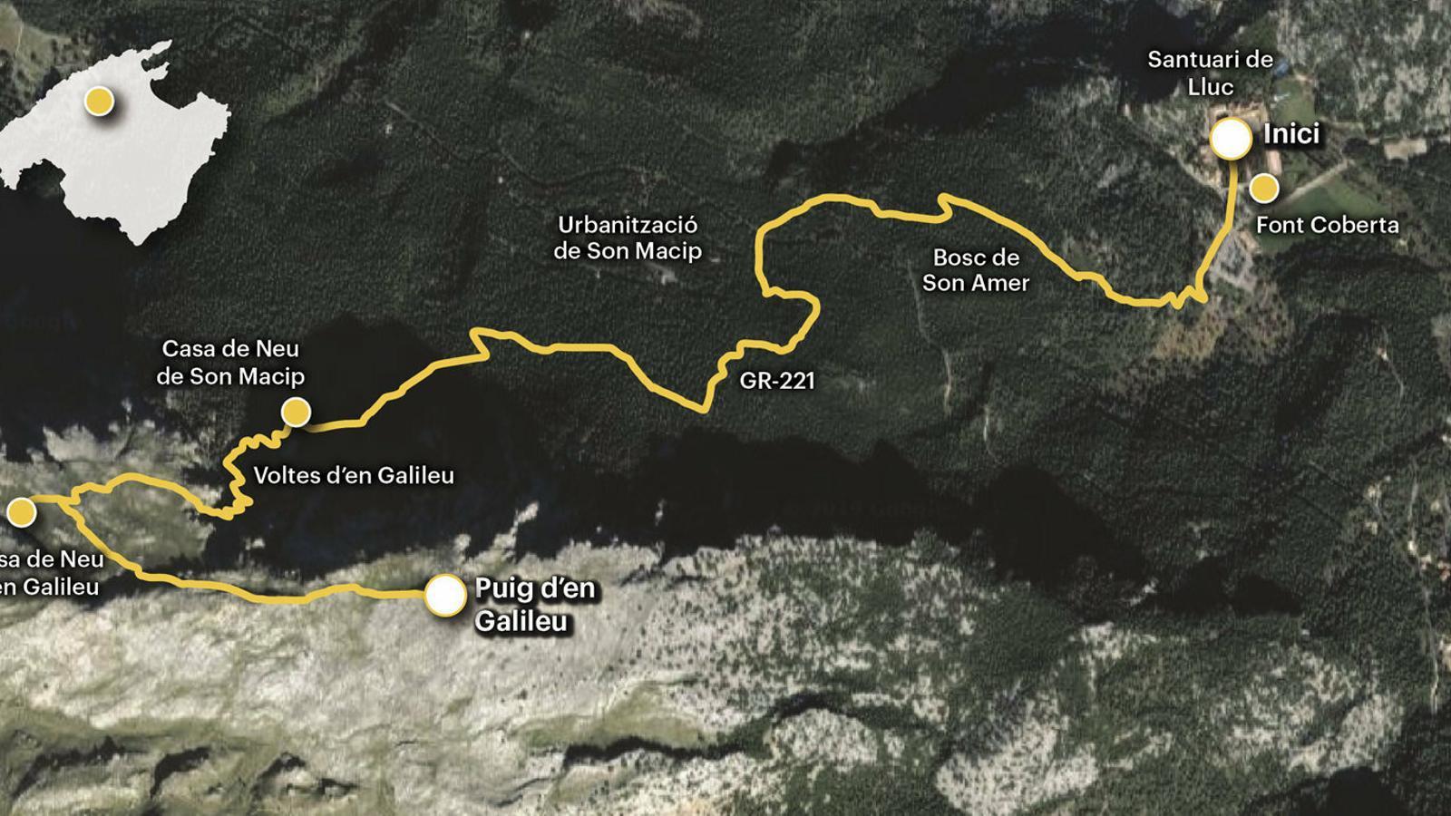 La ruta de la neu:                   el puig Galileu des              del santuari de Lluc