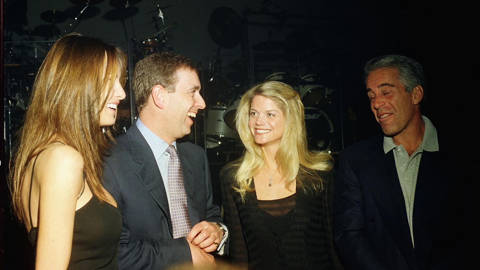 Melania Trump, el príncep Andreu, Gwendolyn Beck i Jeffrey Epstein a Florida, l'any 2000