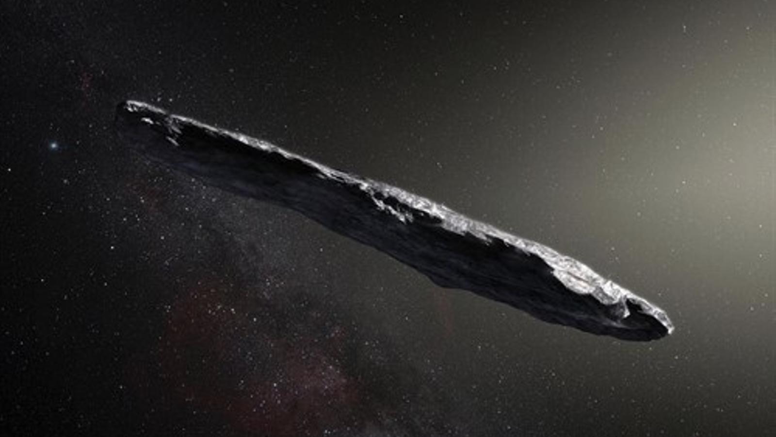 Representació gràfica de l'asteroide interestel·lar Oumuamua