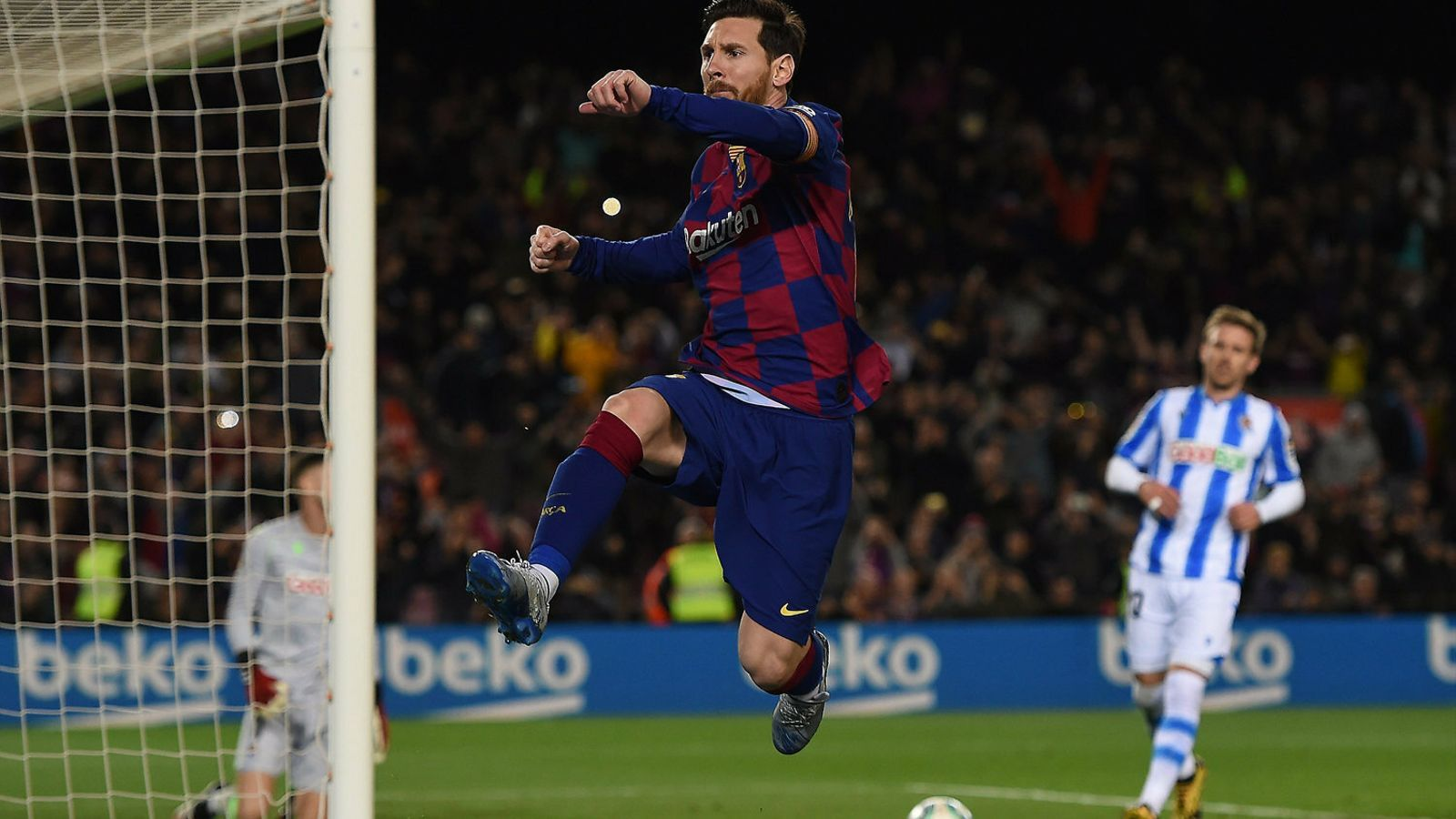 Messi celebra el seu gol, l'únic en l'agònic triomf d'ahir del Barça al Camp Nou contra la Reial Societat.