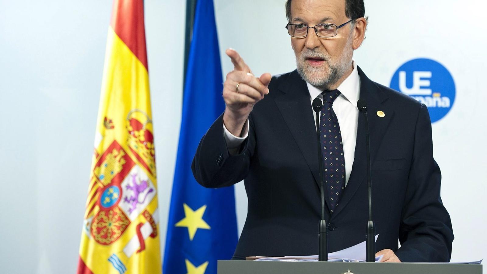 El president en funcions, Mariano Rajoy, ahir després de la reunió del Consell Europeu.