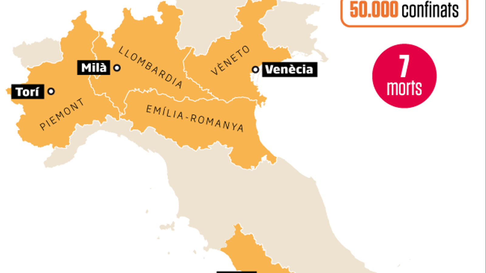 Set morts pel coronavirus a Itàlia