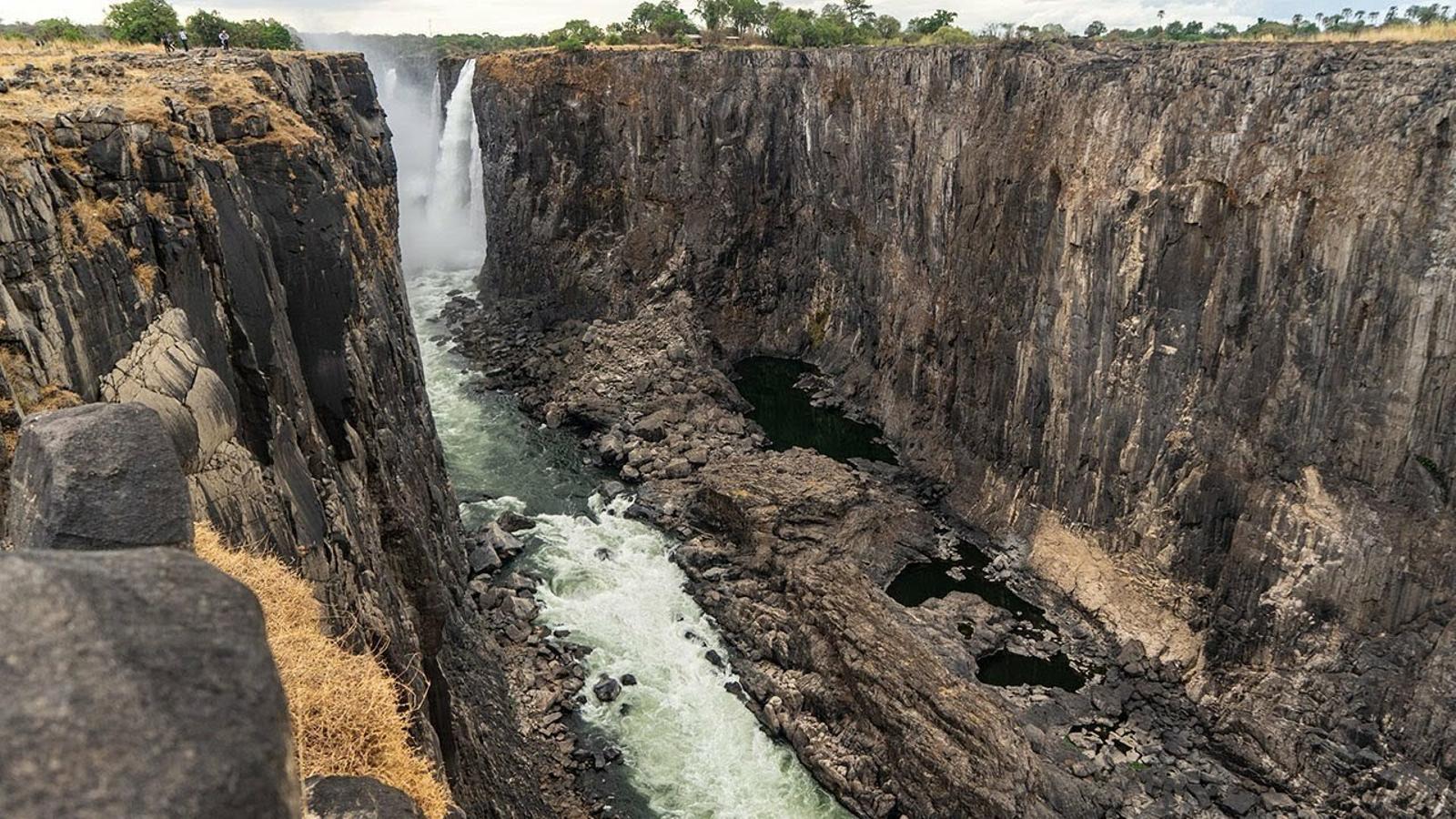 Les cataractes Victoria sense aigua, a Zàmbia