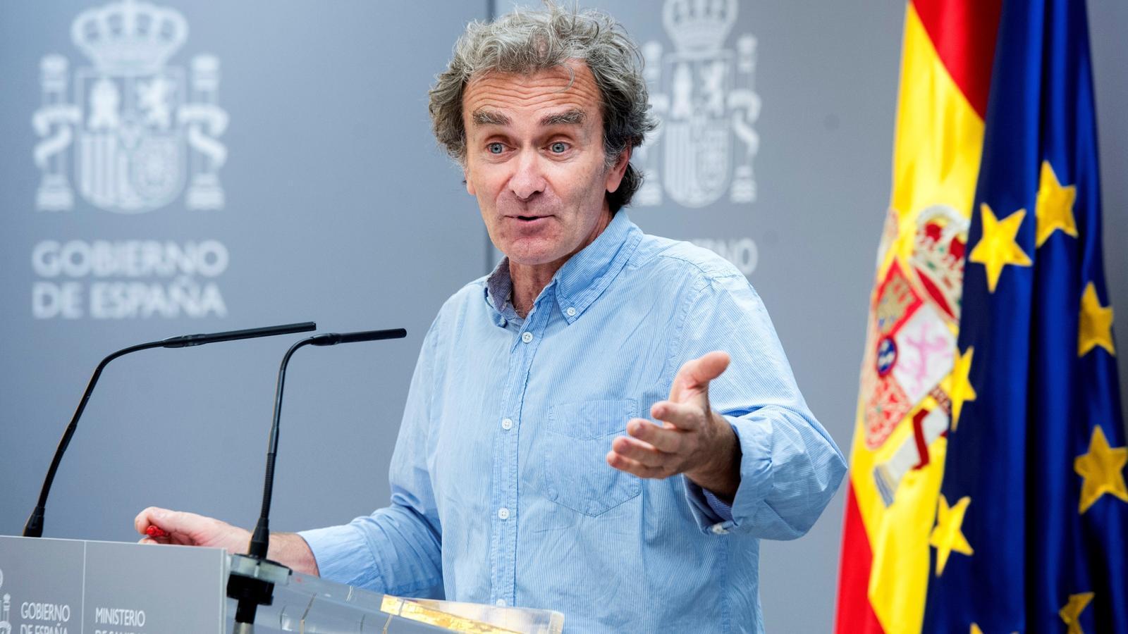 El director del Centre de Coordinació d'Alertes i Emergències Sanitàries, Fernando Simón, en roda de premsa des del ministeri de Sanitat.