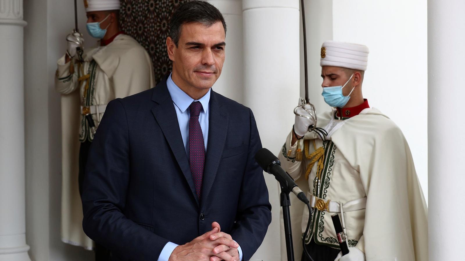 El president de Govern, Pedro Sánchez, ofereix un discurs durant la seva visita oficial, a Alger