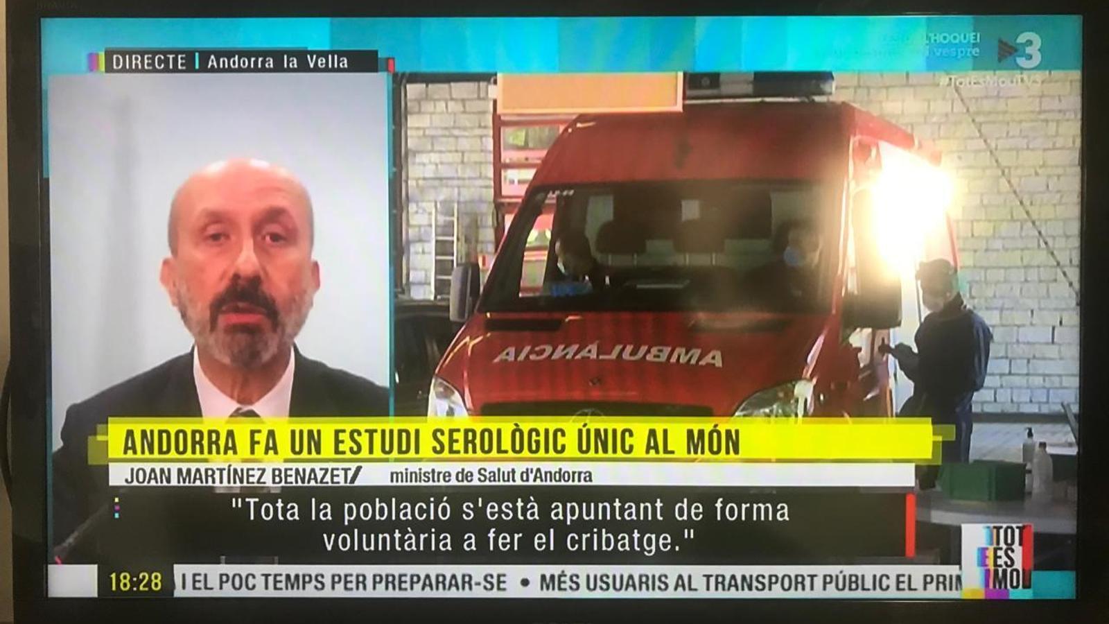 Un moment de l'entrevista al ministre de Salut al 'Tot es mou'. / TV3