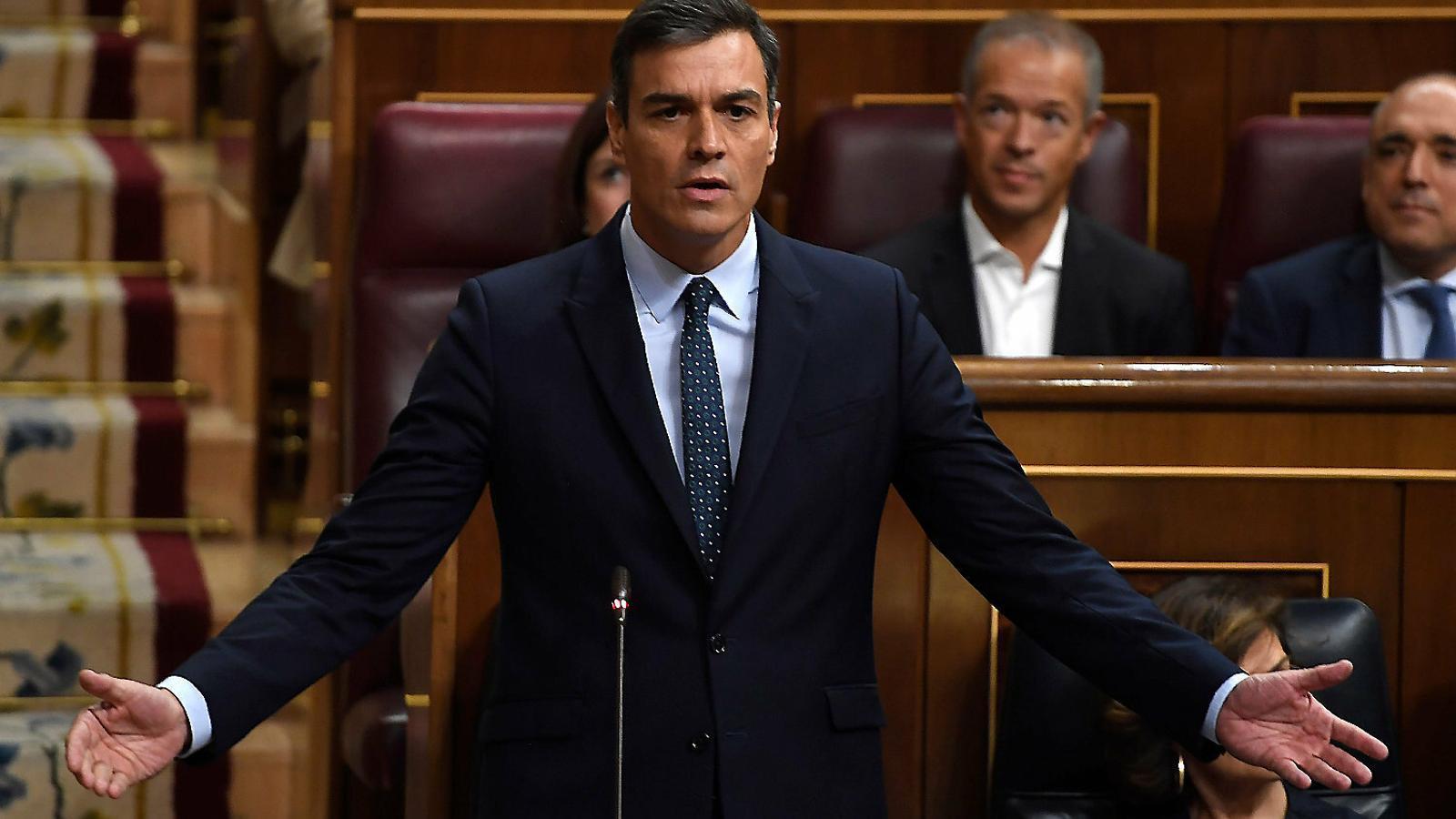 El president en funcions, Pedro Sánchez, ahir al Congrés.