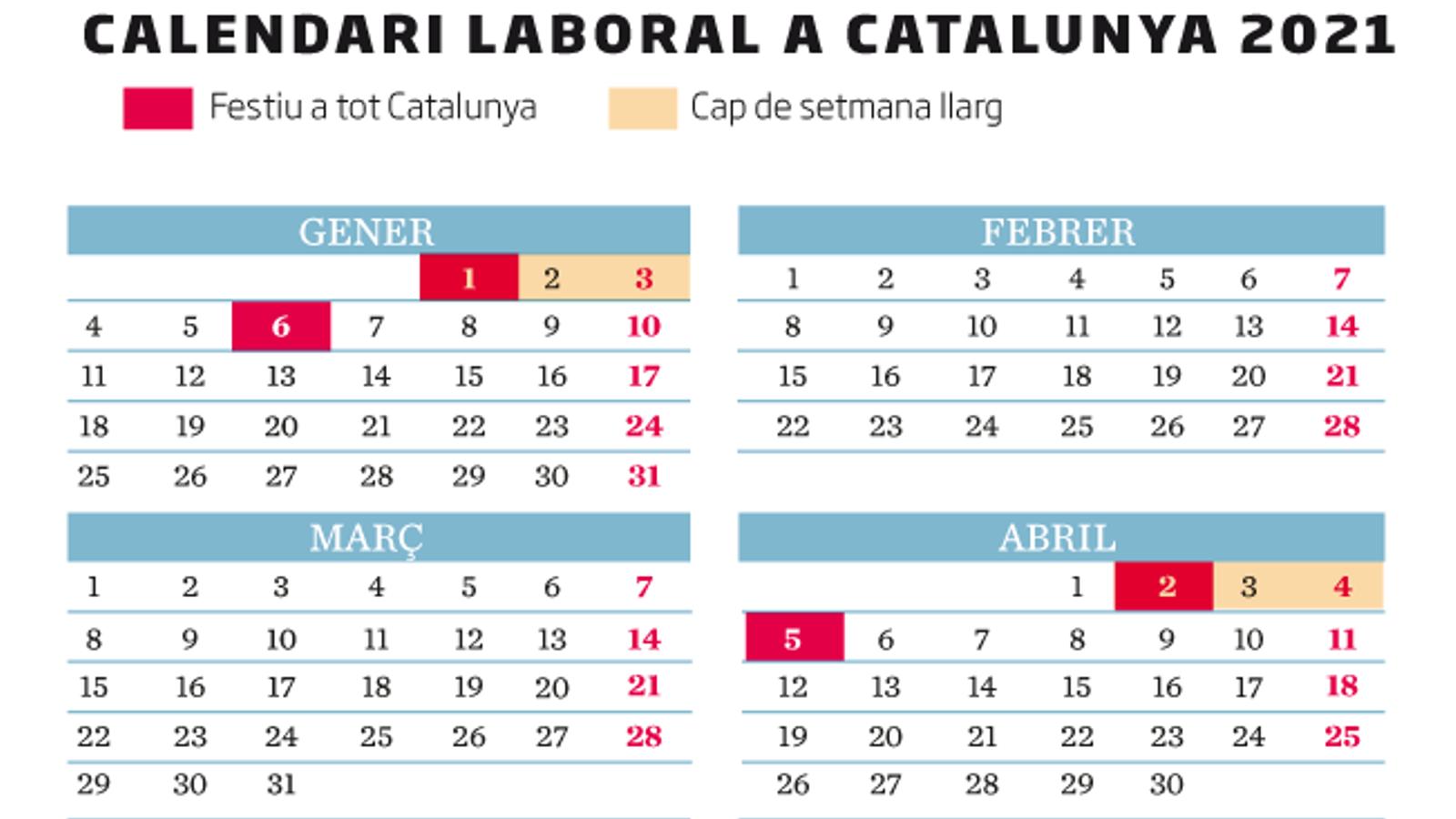 El calendari laboral del 2021: macropont per la Puríssima