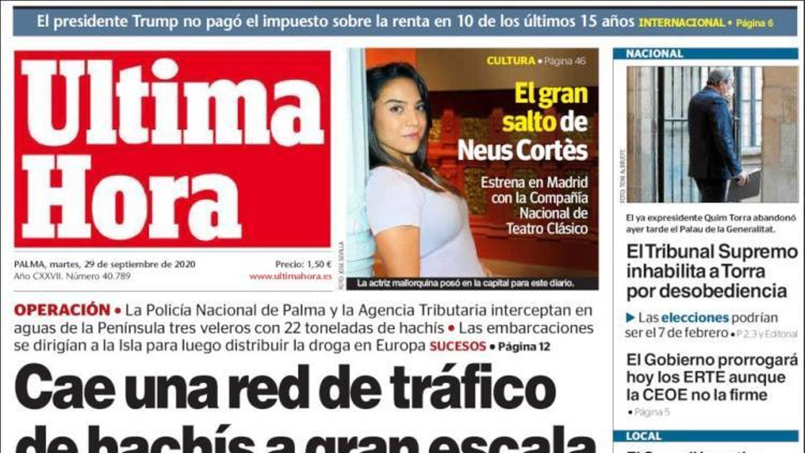 """""""Cau una xarxa de tràfic d'haixix a gran escala amb base a Mallorca"""", portada de l''Última Hora'"""
