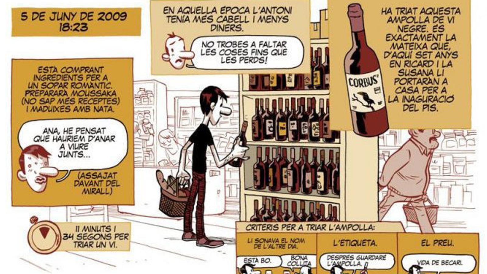 Una vinyeta de la historieta El millor vi,d'Albert Monteys, inclosa a l'antologia Vinòmics.