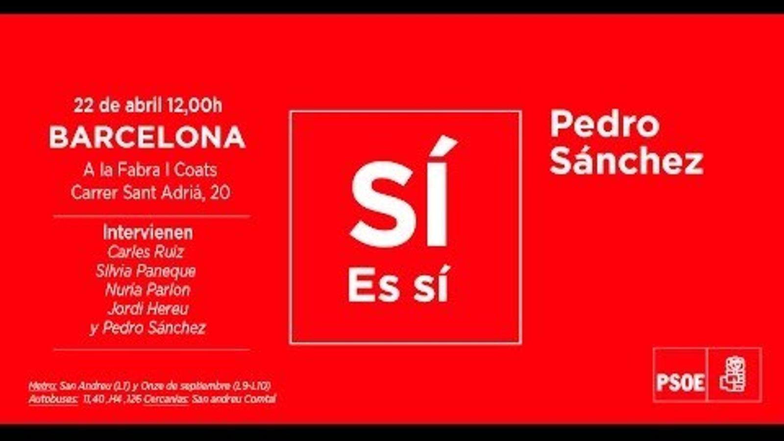 acte primaries psoe pedro sanchez Barcelona