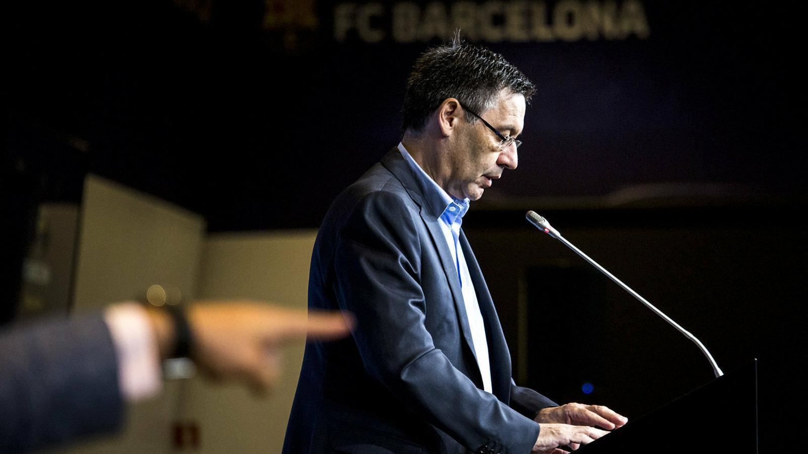 Josep Maria Bartomeu, president del Barça, durant un acte de presentació del club blaugrana.