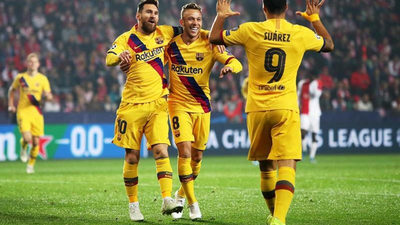 Celebració del Barça a Praga