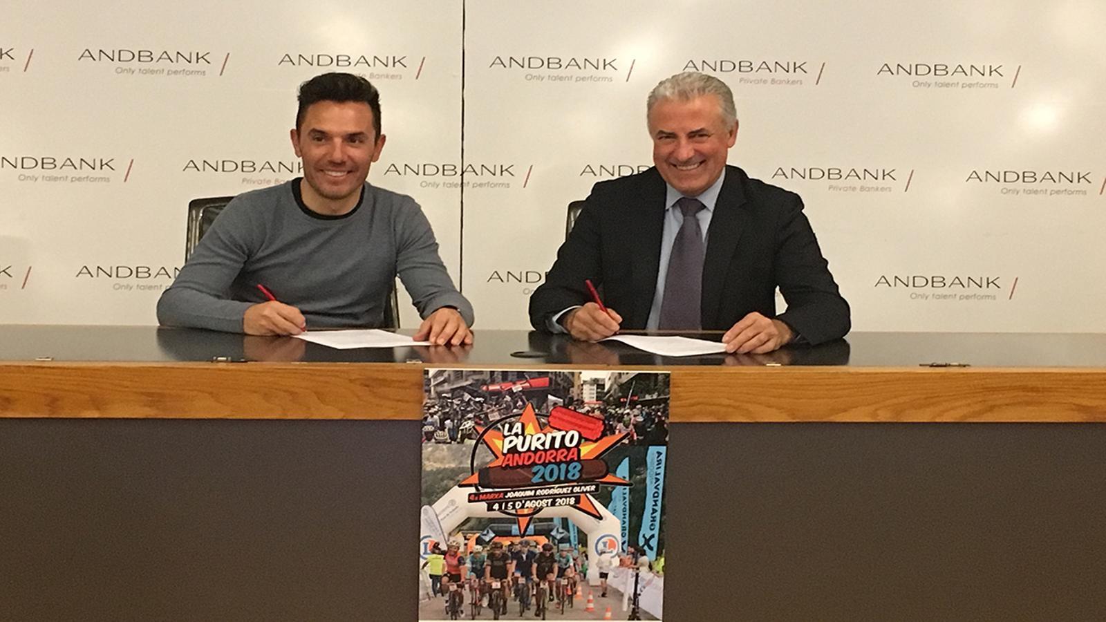Signatura del patrocini, aquest dilluns a Andbank. / ANDBANK