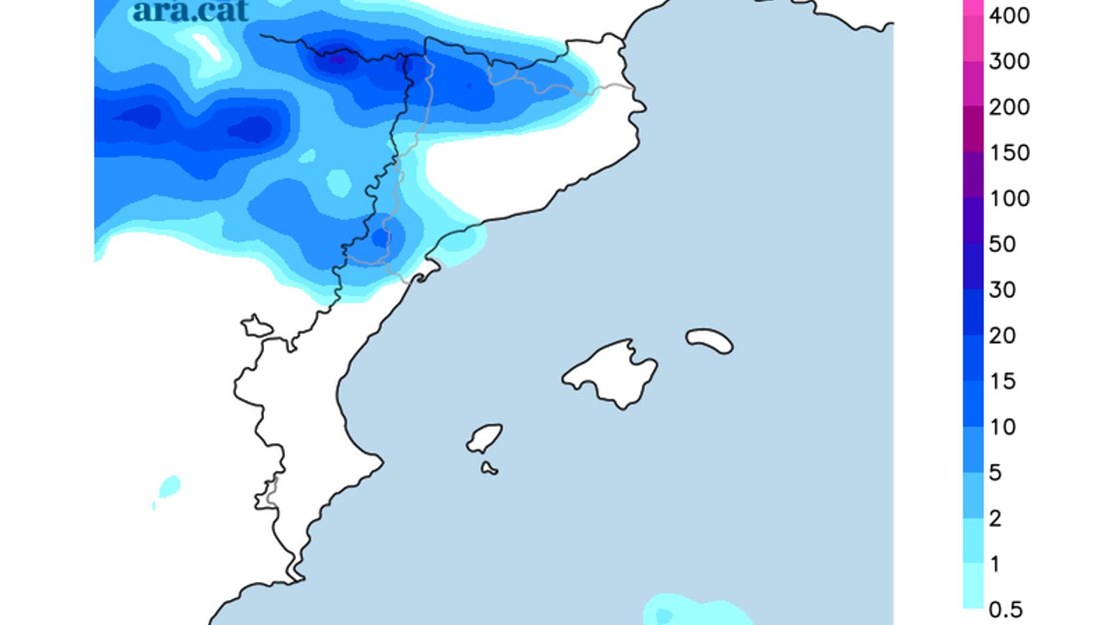 Acumulacions de precipitació prevista per avui