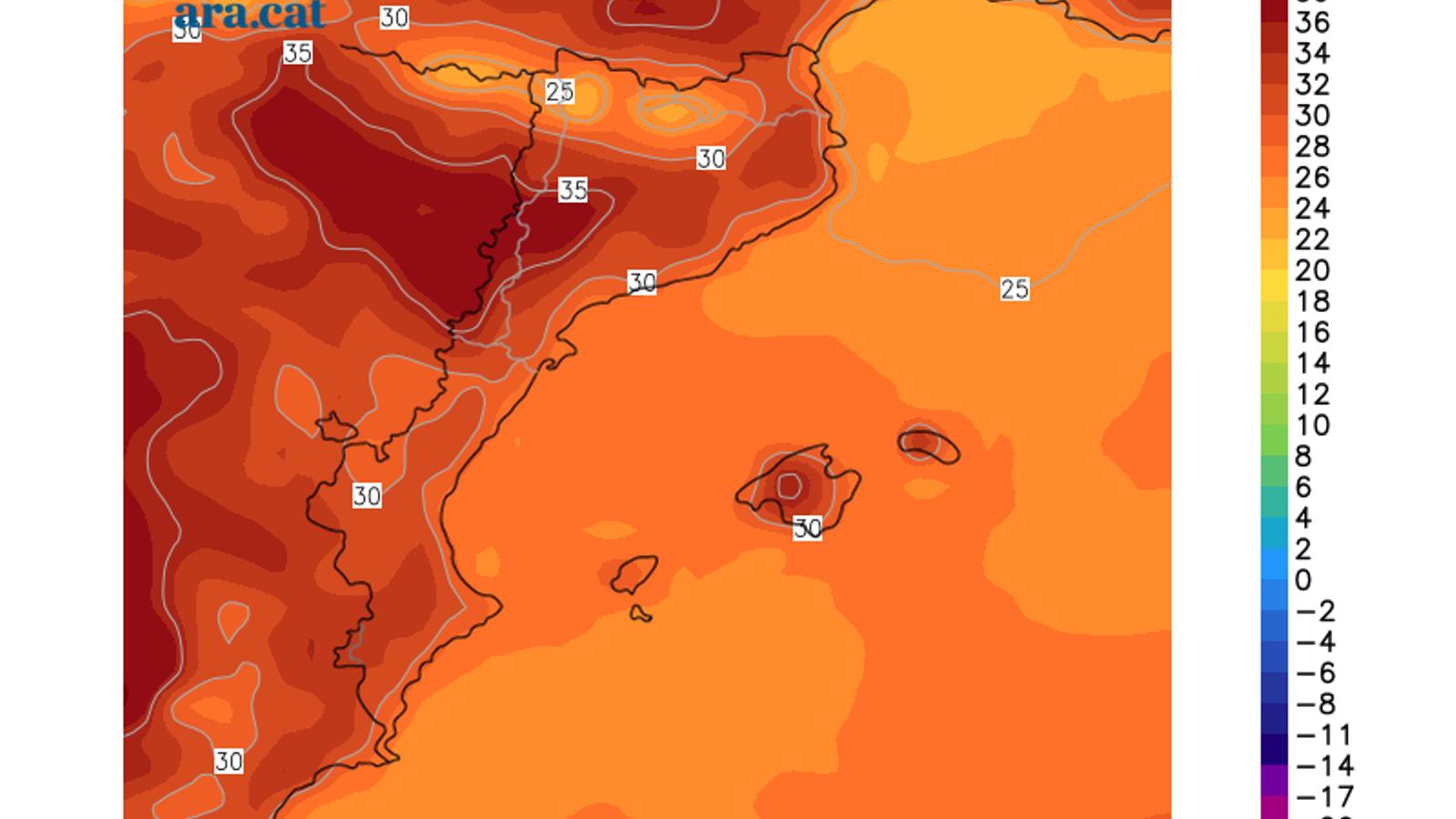 Temperatures màximes previstes per avui