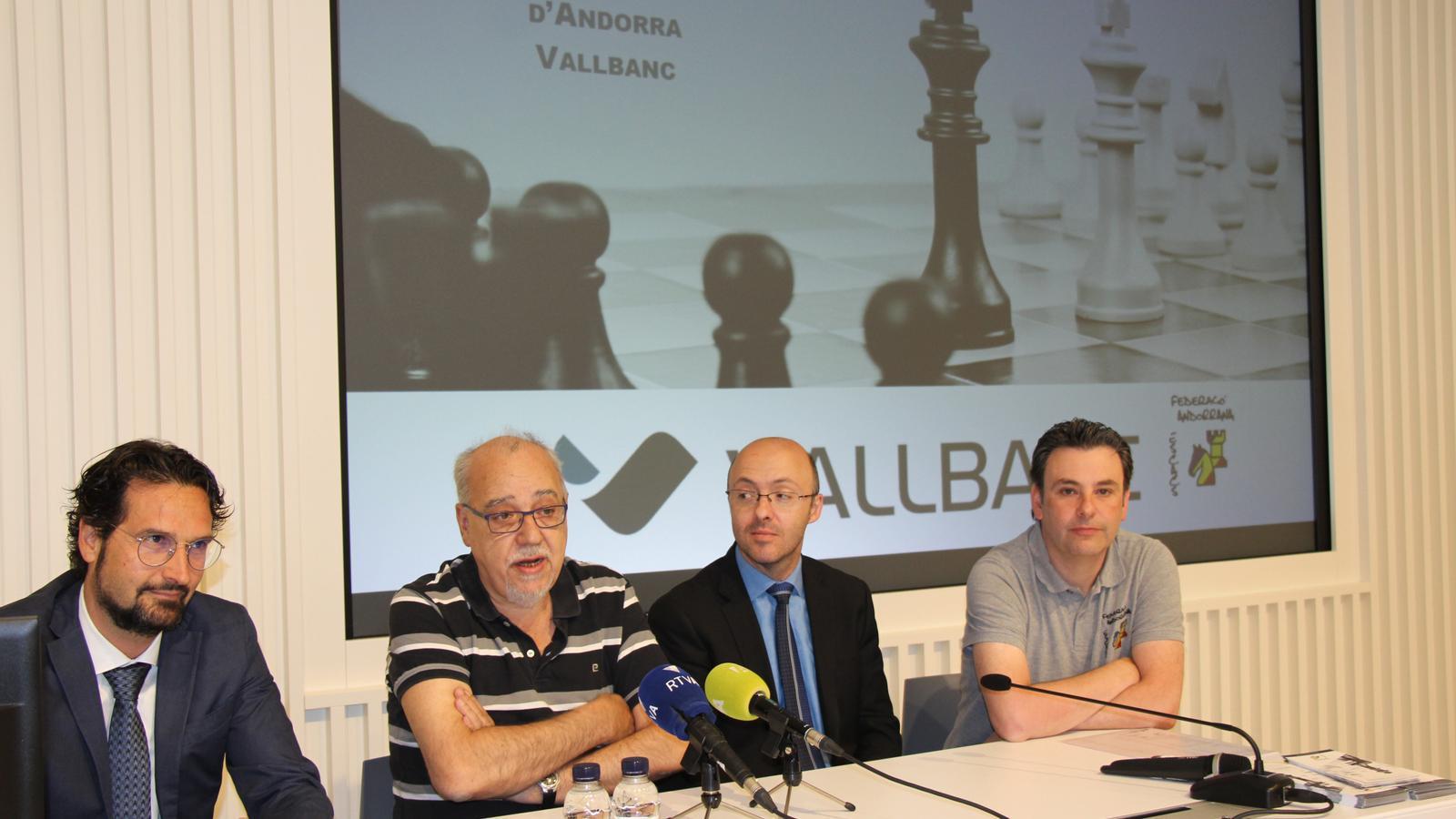 Presentació de la 37a edició de l'Open Internacional d'Escacs d'Andorra, a la seu de Vall Banc. / C. A.