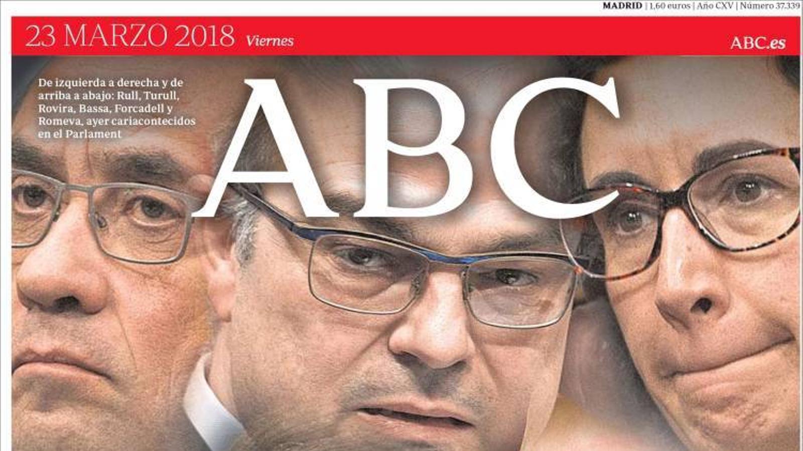 Portada de l'Abc, 23 de març del 2018