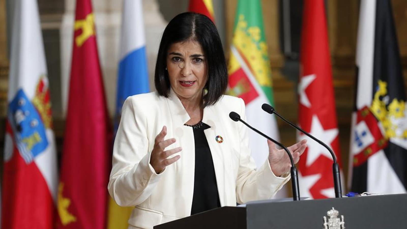 La ministra de Política Territorial i Funció Pública, Carolina Darias, durant la conferència de presidents d'aquest dilluns.