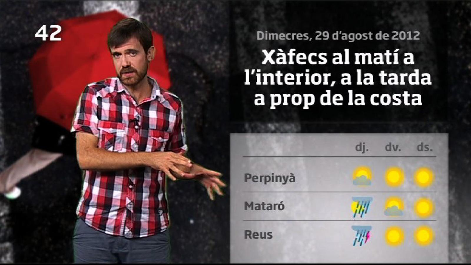 La méteo en 1 minut: ruixats a molts indrets i baixada de temperatures (30/08/2012)
