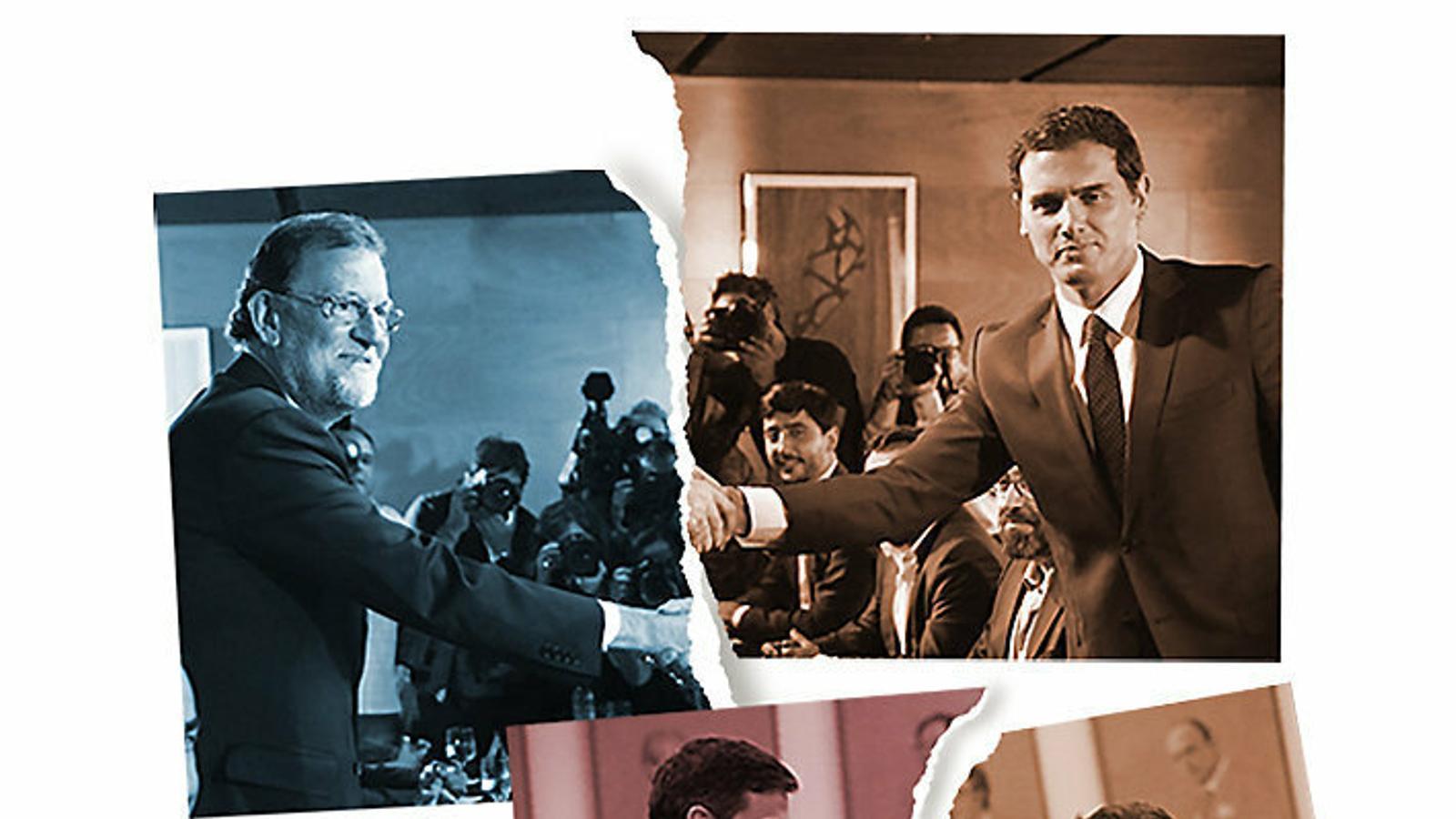 Albert Rivera va pactar paquets de mesures amb Pedro Sánchez i amb Mariano Rajoy el 2016 sense arribar a entrar al govern. Ara són Sánchez i Pablo Iglesias els que exploren la via de la coalició.