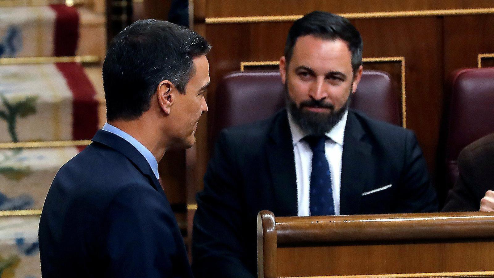 El president espanyol, Pedro Sánchez, i el líder de Vox, Santiago Abascal.