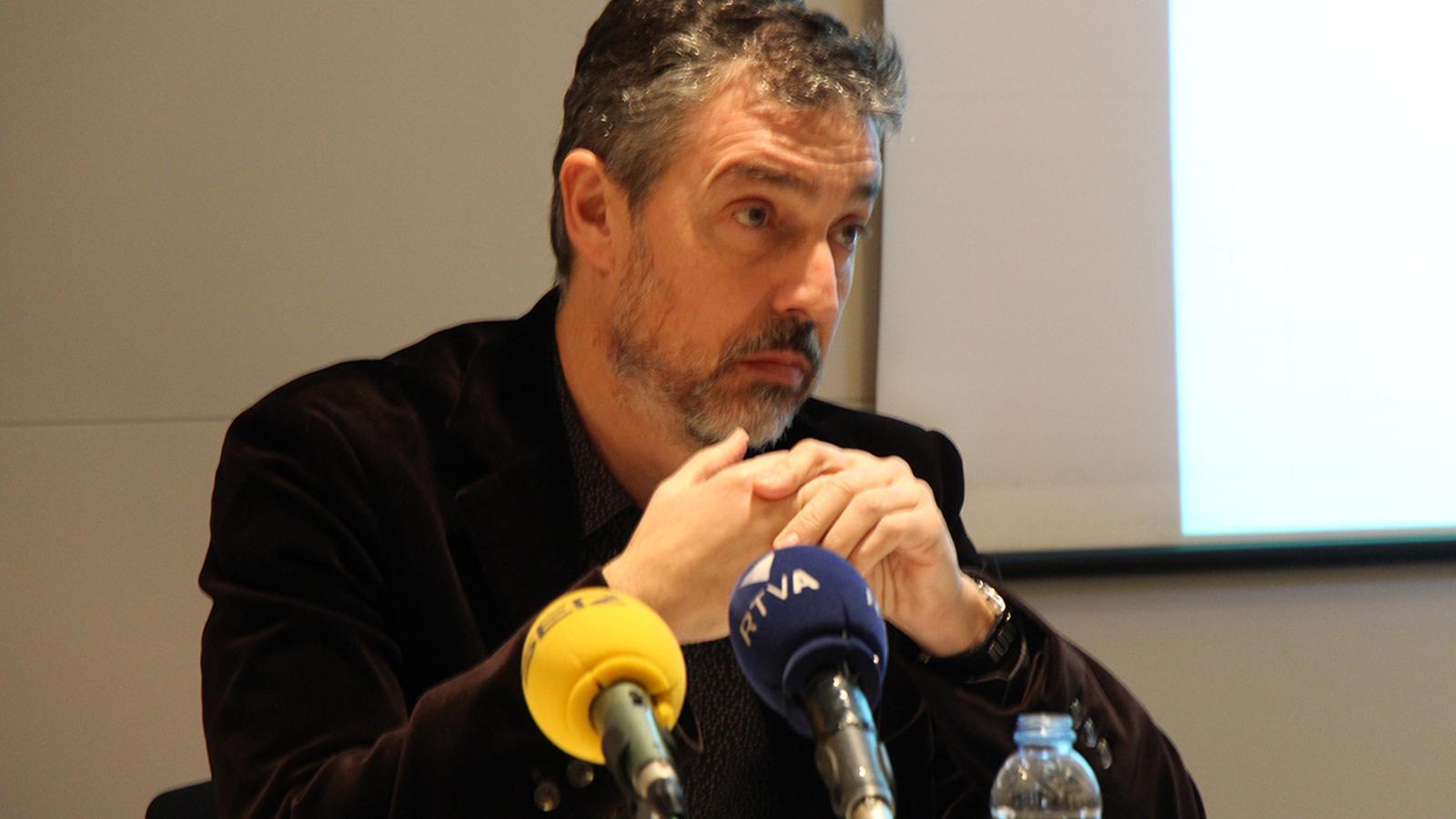 El president de la Cambra, Marc Pantebre durant la roda de premsa d'aquest dimarts./ B.N.