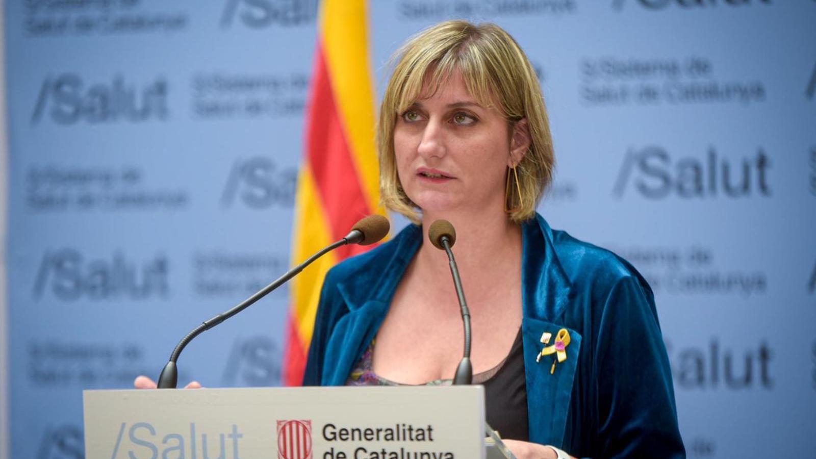 Alba Vergés, consellera de Salut, durant una roda de premsa