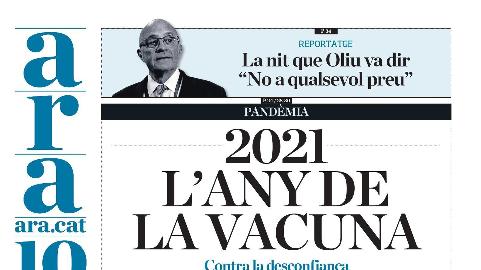 """""""2021: l'any de la vacuna"""", portada de l'ARA"""