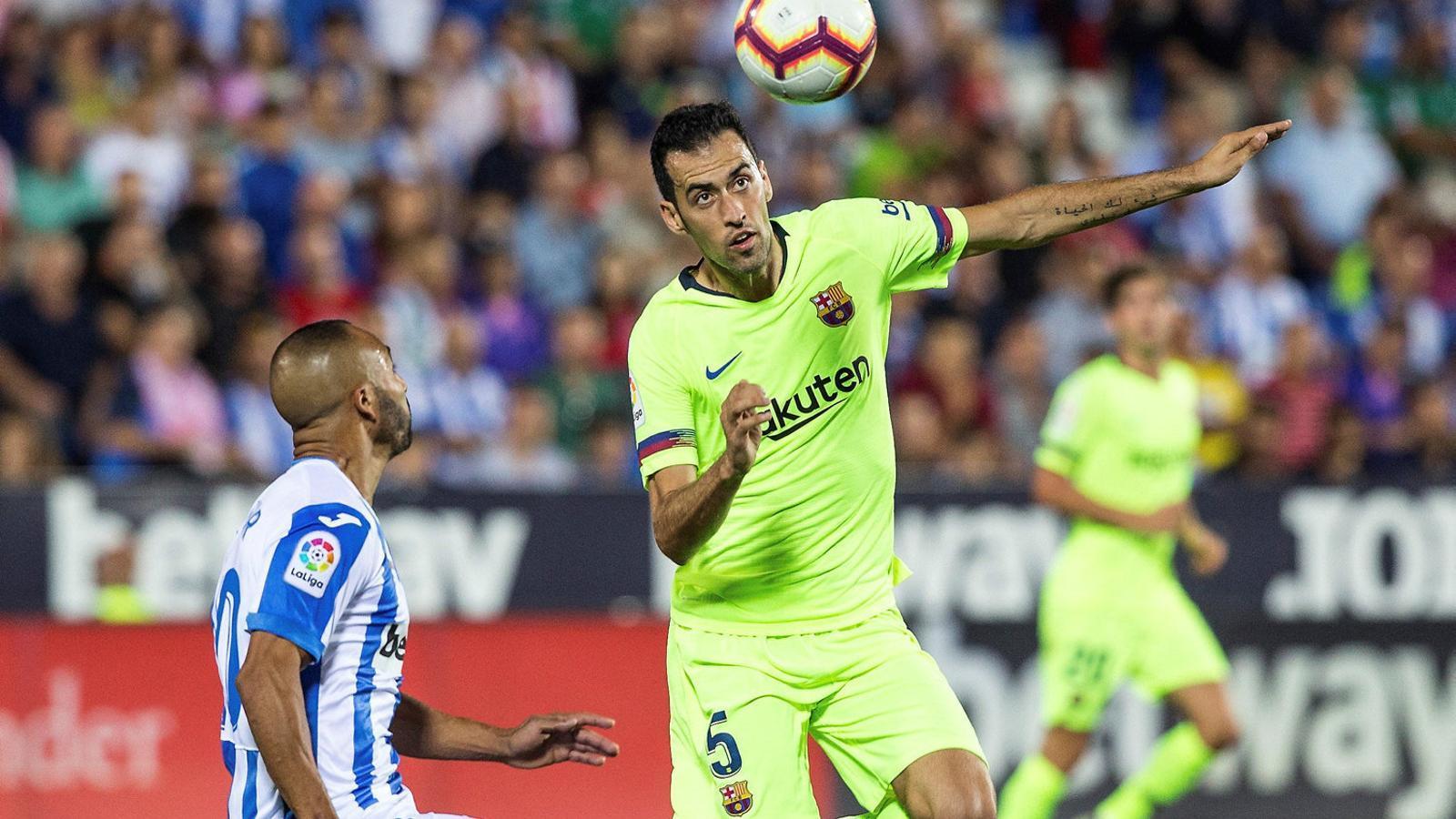 Sergio Busquets durant el partit contra el Leganés.