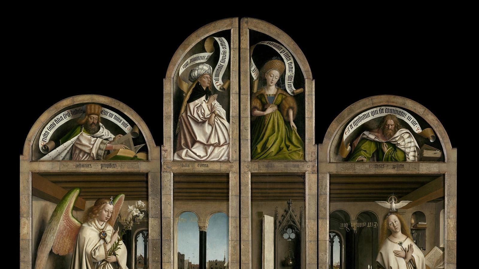 Panells exteriors de l''Adoració de l'anyell místic' amb les portes tancades, de Jan i Hubert van Eyck