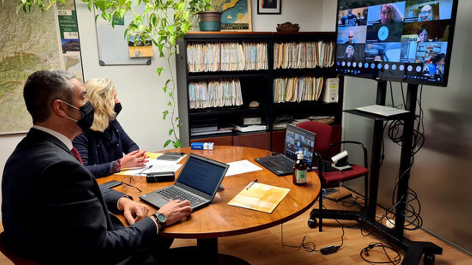Solé durant la reunió telemàtica amb els alcaldes pirinencs. / ACN