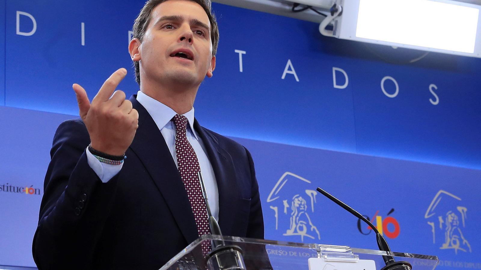 El president de Ciutadans, Albert Rivera, ahir en roda de premsa al Congrés de Diputats.