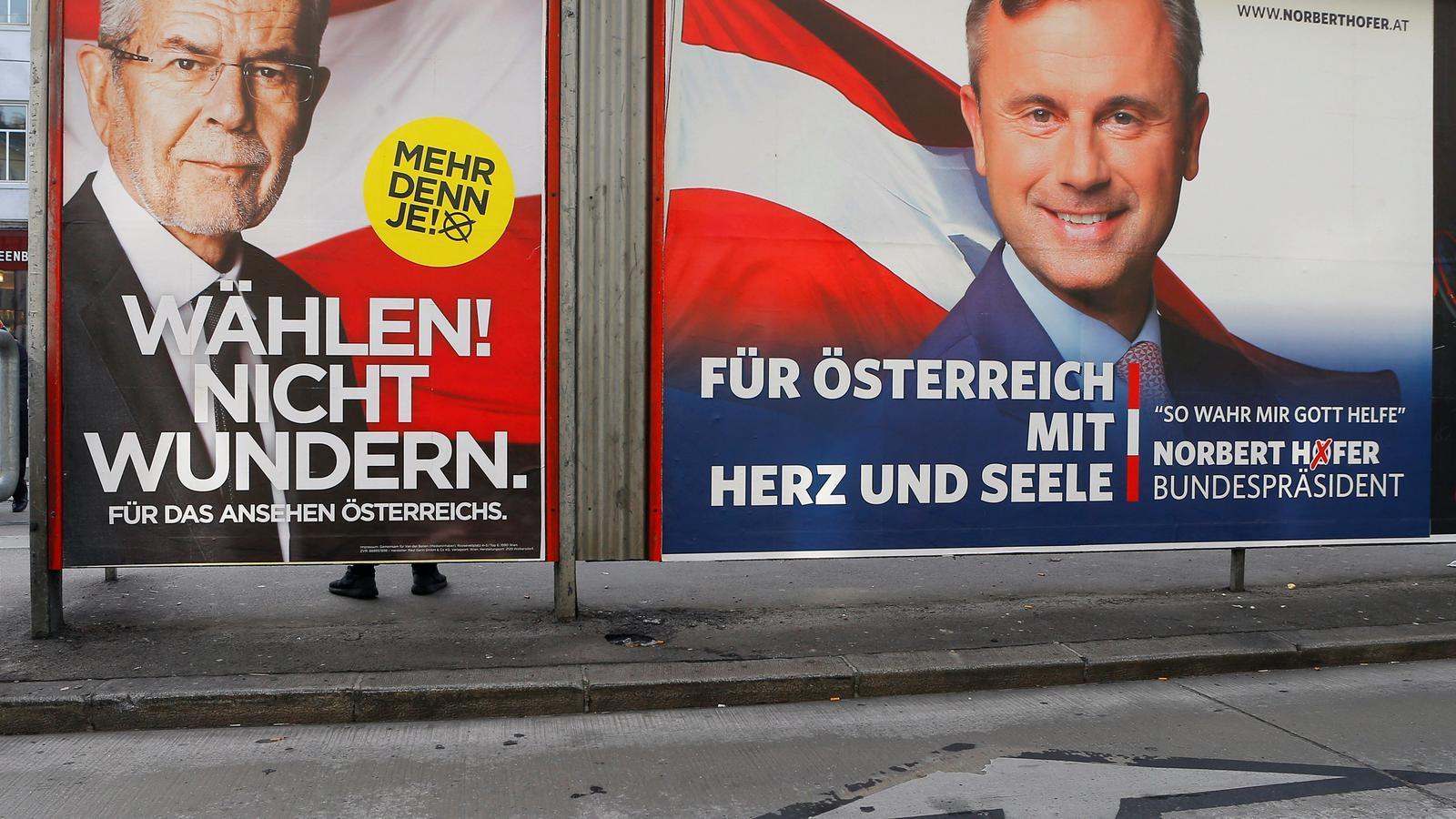 Els dos aspirants a presidir Àustria en cartells electorals.