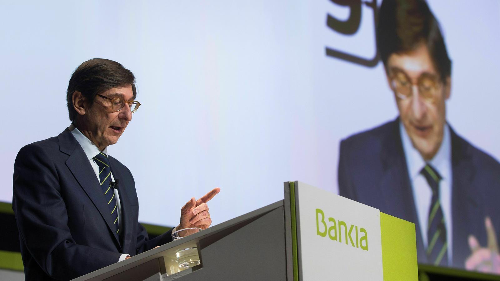 El presdient de Bankia, José Ignacio Goirigolzarri, aquest divendres a la Junta general d'accionistes que s'ha celebrat a València.
